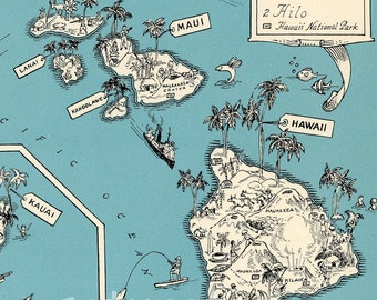 Hawaii Map - Vintage - High Res DIGITAL IMAGE Picture Map - Retro Map Art - Charming & Fun -Honolulu - Waikiki - Oahu - Pearl City