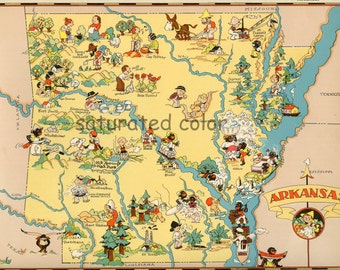 Arkansas Map ORIGINAL 9 X 13 Vintage 1930s Antique Picture Map of Arkansas - Ruth Taylor White - Little Rock Fayetteville Jonesboro Souveni
