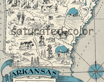 Arkansas Map 1931 ORIGINAL Vintage Picture Map - Antique - Charming Teal Aqua - Little Rock Fort Smith Pine Bluff Hot Springs - RARE USA Map