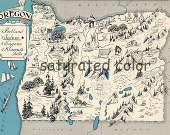 Oregon Map 1931 ORIGINAL Vintage  Picture Map - Antique Oregon Map - Charming Teal Aqua - Portland Salem Eugene Klamath Falls - RARE USA Map