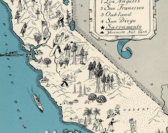 California Map Art - High Res  DIGITAL IMAGE - 1930s Vintage Picture Map - Turquoise Aqua - Charming & Fun Art Print - Beach House Decor