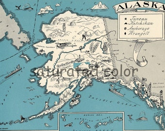 Alaska Map 1931 ORIGINAL Vintage Picture Map - Antique Charming Teal Aqua - Sitka Nome Steward Fairbanks Wasilla Barrow Kodiak RARE USA Map