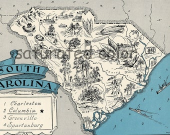 South Carolina Map Vintage - Map Art - High Res  DIGITAL IMAGE of a 1930s Vintage Picture Map - Turquoise Aqua - Charming & Fun