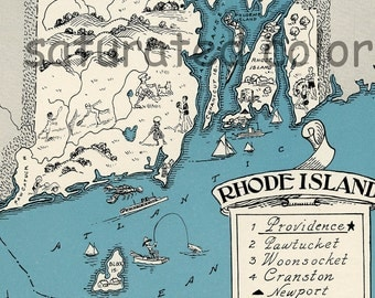 Rhode Island Map 1931 ORIGINAL Vintage Picture Map - Antique Map - Charming Teal Aqua - Newport - Prudence Island - Conanicut - RARE USA Map