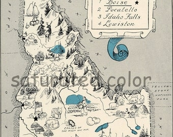 Idaho Map 1931 ORIGINAL Vintage  Picture Map - Antique Idaho Map - Charming Teal Aqua - Boise Pocatello Idaho Falls Lewiston - RARE USA Map