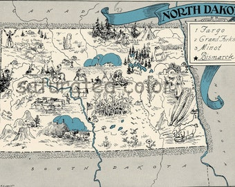 North Dakota Map 1931 ORIGINAL Vintage  Picture Map - Antique Map - Charming Teal Aqua - Bismarck Fargo Grand Forks Minot - RARE USA Map
