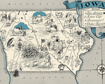 Iowa Map 1931 ORIGINAL Vintage  Picture Map - Antique Map - Charming Teal Aqua - Des Moines Sioux City Davenport Cedar Rapids - RARE USA Map