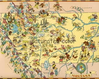 Montana Map ORIGINAL 9 x 13  Vintage 1930s Antique Picture Map - Ruth Taylor White - Bozeman Billings Missoula Great Falls Butte Souvenir