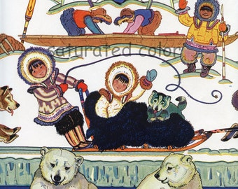 Eskimo Children - Alaska - Winter Snow Polar Bears Wolves Igloo Walrus Canada Greenland - 1931 Vintage Children's Print - Christmas