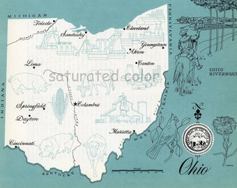 Ohio Map - ORIGINAL Vintage 1960s Picture Map - Fun Retro Colors - Columbus Marietta Canton Akron Cleveland Springfield Dayton Lima Souveni