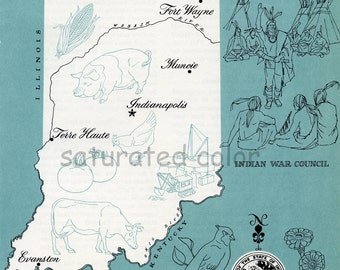 Indiana Map - ORIGINAL Vintage 1960s Picture Map - Fun Retro Colors - Muncie Indianapolis Terre Haute Fort Wayne South Bend Gary Souvenir