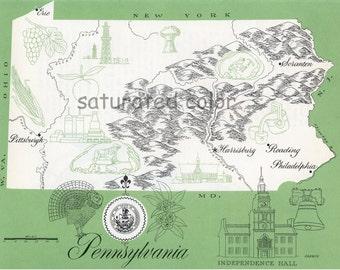 Pennsylvania Map - ORIGINAL Vintage 1960s Picture Map - Fun Retro Colors - Harrisburg Reading Philadelphia Scranton Erie Allentown Souvenir