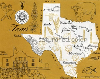 Texas Map - ORIGINAL Vintage Mustard Yellow colorful illustrated map of Texas - 1960s picture map - Fun Retro Colors