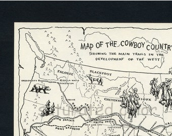 Vintage Cowboy Country Map - DIGITAL IMAGE DOWNLOAD - 1950s Map of Cowboy Trails & Indian Territories Wild Wild West Children's Illustration