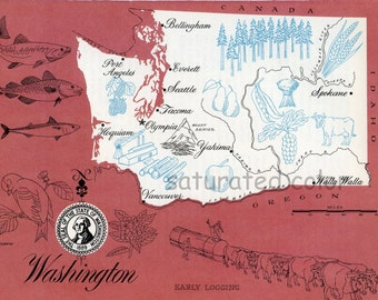 Washington Map - ORIGINAL Vintage 1960s Picture Map - Fun Retro Colors - Vancouver Olympia Tacoma Everett Bellingham Spokane Yakima Souveni