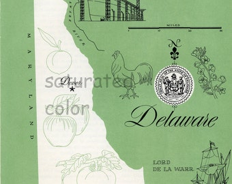 Delaware Map - ORIGINAL Vintage 1960s Picture Map - Fun Retro Colors - Wilmington Newark Dover Middletown Brookside Glasgow Souvenir