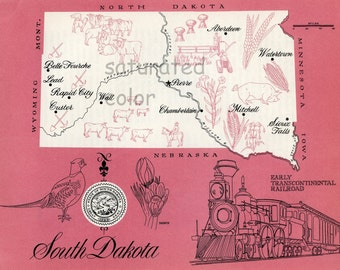 South Dakota Map - ORIGINAL Vintage 1960s Picture Map - Fun Retro Colors - Belle Fourche Chamberlain Pierre Mitchell Sioux Falls Souvenir