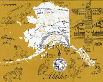 Alaska Map - ORIGINAL Vintage 1960s Picture Map - Fun Retro Colors - Juneau Fairbanks Seward Kodiak Valdez Cordova Dutch Harbor Souvenir