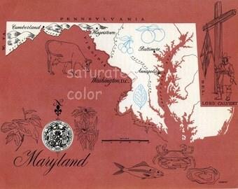 Maryland Map - ORIGINAL Vintage 1960s Picture Map - Fun Retro Colors - Cumberland Silver Spring Germantown Ellicott City Frederick Souvenir