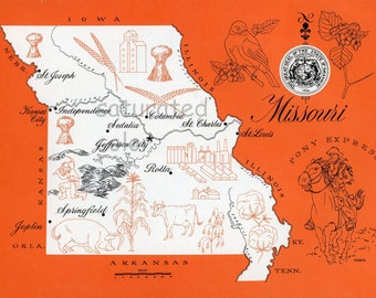 Missouri Map - ORIGINAL Vintage 1960s Picture Map - Fun Retro Colors - St. Joseph Independence Columbia Sedela Jefferson City Souvenir