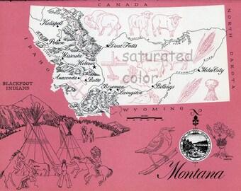 Montana Map - ORIGINAL Vintage 1960s Picture Map Fun Retro Colors - Great Falls Billings Anaconda Helena Bozeman Missoula Butte Souvenir