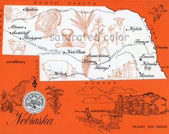 Nebraska - ORIGINAL Vintage 1960s Picture Map - Fun Retro Colors - North Platte Alliance Scotts Bluff Bridgeport Grand Island Souvenir
