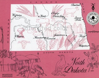 North Dakota Map - ORIGINAL Vintage 1960s Picture Map - Fun Retro Colors - Williston Minot Rugby Medora Mandan Bismarck Jamestown Souvenir