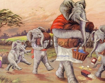 Vintage Elephants - Market Day - Basket - Original Children's Illustration - Vintage Elephant Children - Family Shopping in London England