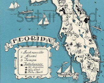 Florida Vintage Map - Map Art - High Res  DIGITAL DOWNLOAD IMAGE of a 1930s Vintage Picture Map - Aqua Turquoise - Charming & Fun - Wedding