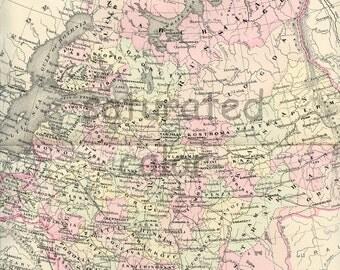 Russia Map - USSR -  Vintage Antique Map - Original 1895 Map of Russia - Moscow - Saint Petersburg - Leningrad -