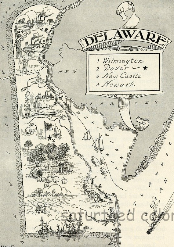 Delaware Map ORIGINAL Vintage 1950s Picture Map - 1950s Fun - Delightfully amusing ~ Fun & Charming - Wilmington Dover