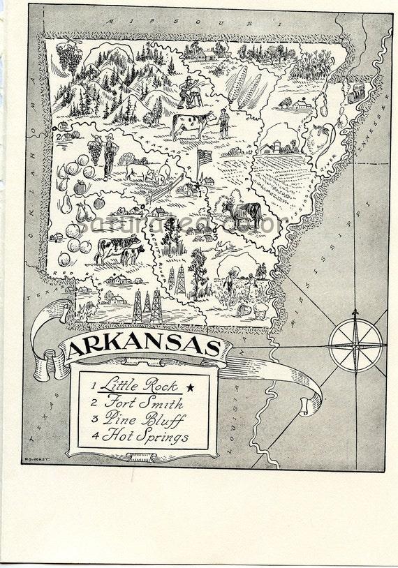 Arkansas Map -  A Delightfully Amusing ORIGINAL 1950s Vintage Map - Fun