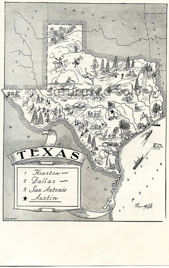 1950s Texas - A Delightfully Amusing ORIGINAL Vintage Picture Map - Fun
