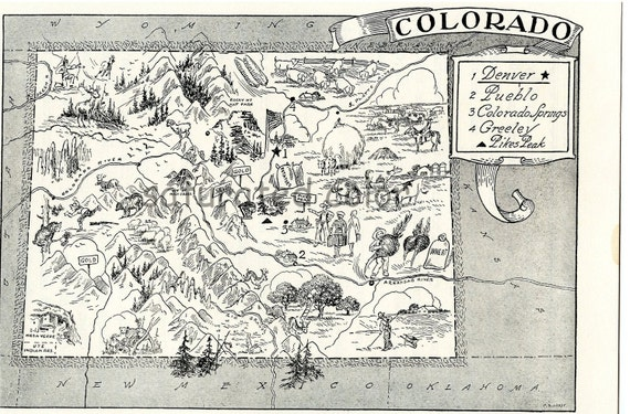 Colorado Map ORIGINAL Vintage 1950s Picture Map -  LAST ONE - 1950s Fun - Delightfully Amusing Fun & Charming - Crested Butte Denver Boulde