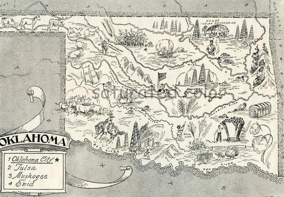 Oklahoma Map Vintage - A Delightfully Amusing Original Vintage Map - 1950s Fun - LAST ONE