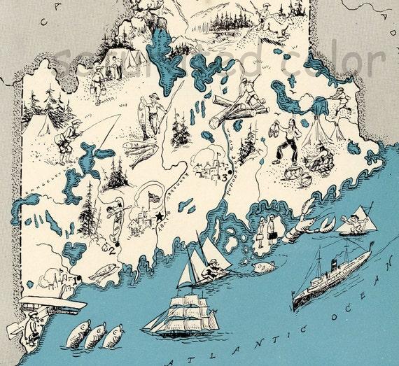 ORIGINAL Maine Map 1931 Vintage Picture Map - Antique - Charming Teal Aqua - Portland Lewiston Bangor Augusta Presque Isle - RARE USA Map