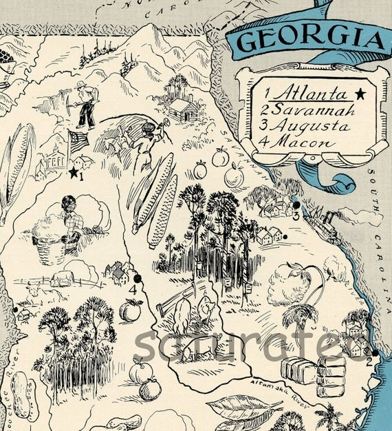 Georgia Vintage Map Map Art High Res DIGITAL By SaturatedColor