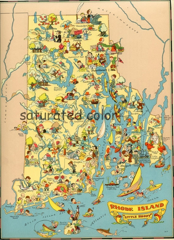 Rhode Island Map - ORIGINAL 1930s Picture Map - Ruth Taylor White