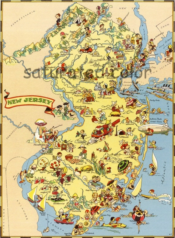 New Jersey - Fun & Colorful Picture Map