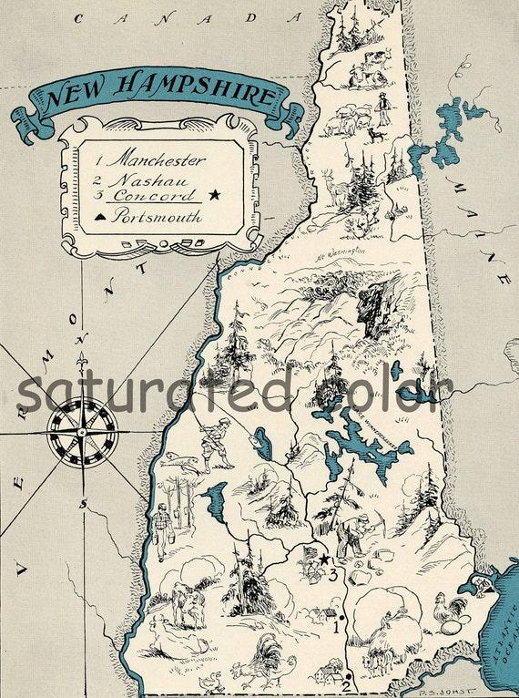 New Hampshire Map 1931 ORIGINAL Vintage Picture Map - Antique - Charming Teal Aqua - Manchester Nashau Concord Portsmouth - RARE USA Map