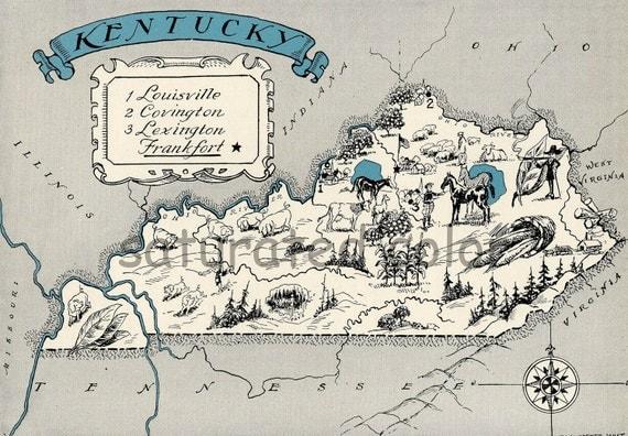 ORIGINAL Kentucky Map 1931 Vintage Picture Map - Antique Charming Teal Aqua - Louisville Covington Lexington Frankfort Paducah RARE USA Map