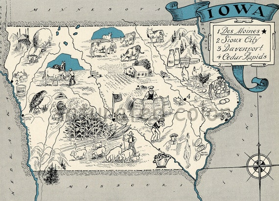 Items similar to iowa map 1931 original vintage picture for Craft stores in sioux city iowa