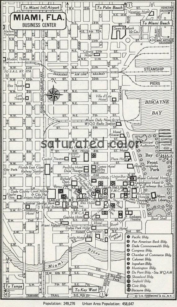 Miami Map - Vintage 1950s Original Heart of Miami Florida Map - Wonderful Old Landmarks & Details