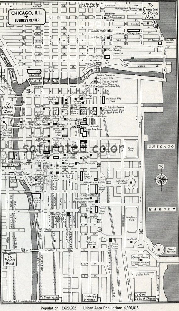 Chicago Illinois Map Vintage 1950s Original Heart Of Chicago