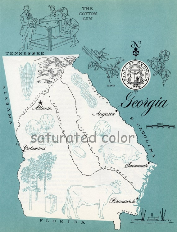 Georgia Map Vintage Aqua Colorful Illustrated Map Of Georgia