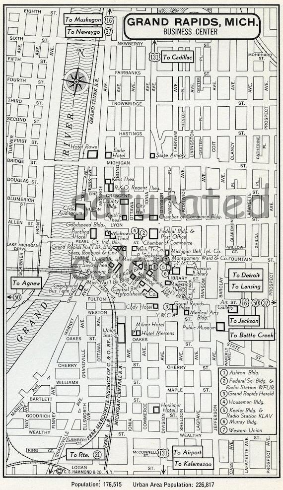 grand rapids michigan mi map vintage 1950s original