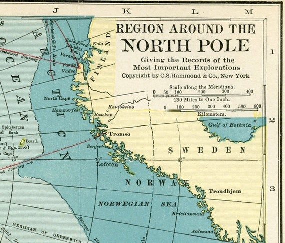 Vintage North Pole Map  - 1926 Original Antique Map of the North Pole - BEAUTIFUL Colors - Aqua - Soft Yellow - White