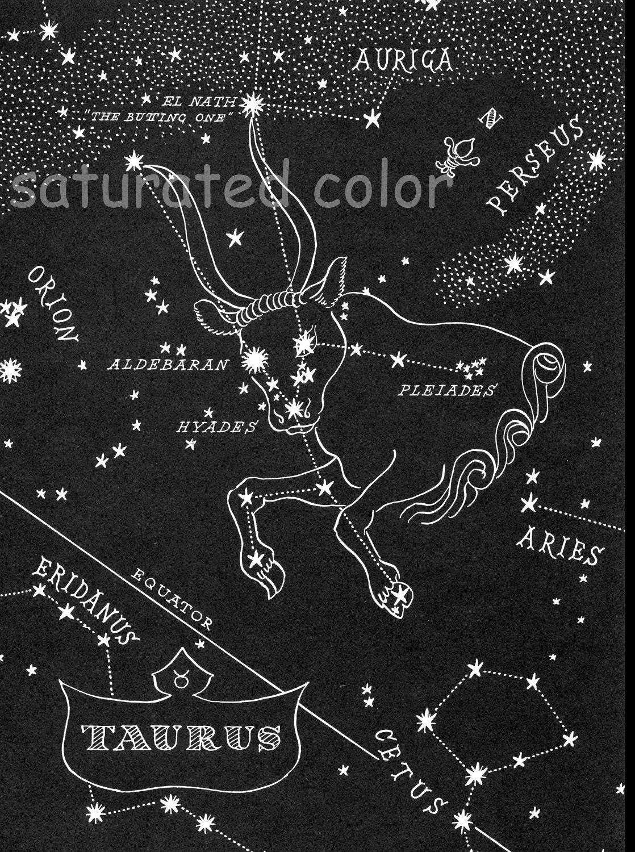 Taurus Night Sky Star Chart Map 1948 Zodiac Constellation