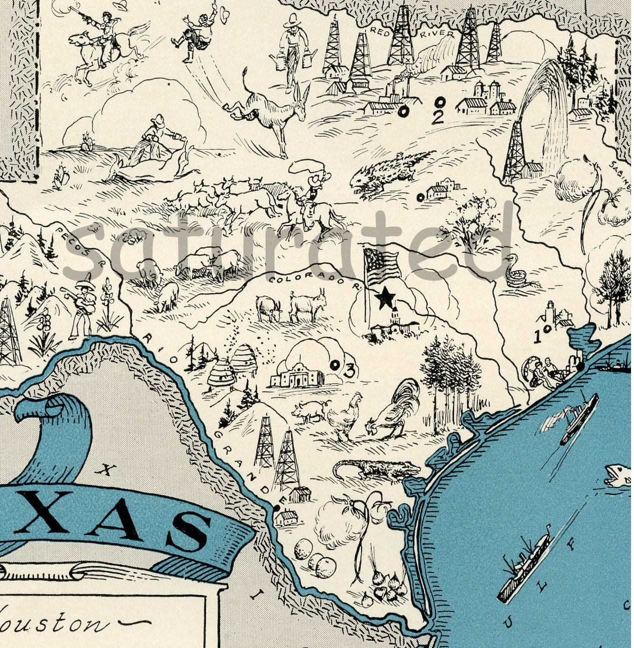Texas Map High Res DIGITAL IMAGE 1930s Vintage Picture Map