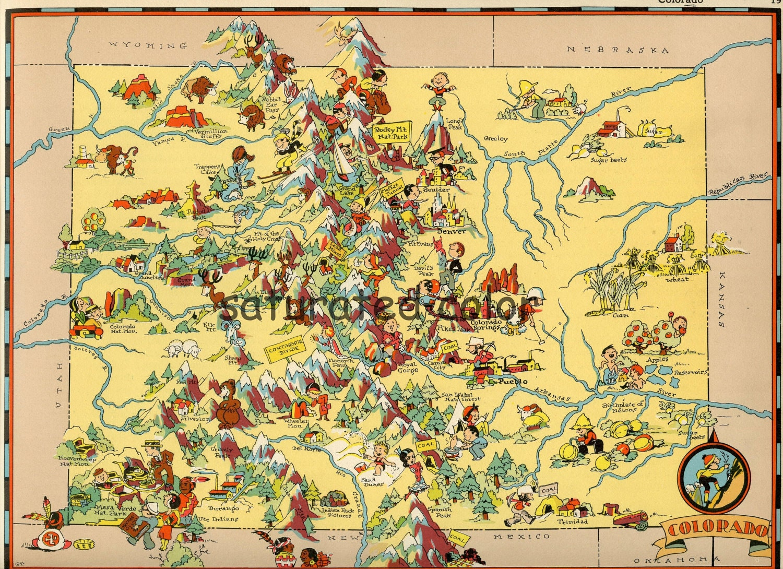 Vintage Colorado Map Original 1930s Vintage Picture Map Of